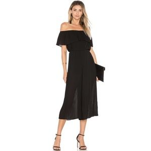 Endless Rose Pleated Off Shoulder Jumpsuit Black